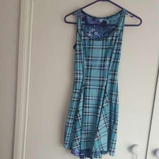 Black Milk Clothing IOD Inside Out Dress Purple Koi Vs Aqua Tartan Size Extra Small XS