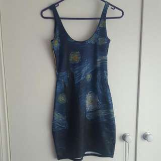 Black Milk Clothing Van Gogh Starry Night Dress Size Small