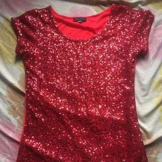 Red Sequins Blouse