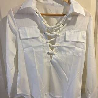 Rope Tie White Long Sleeve