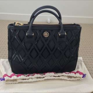 Authentic Tory Burch Robinson Patchwork Double Zip Tote