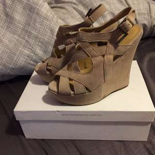 Tony Bianco Beige Suede Wedges
