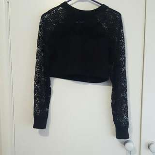 Black Milk Clothing Little Lies Lace Sweater Small