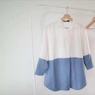 Half White Half Blue Shirt