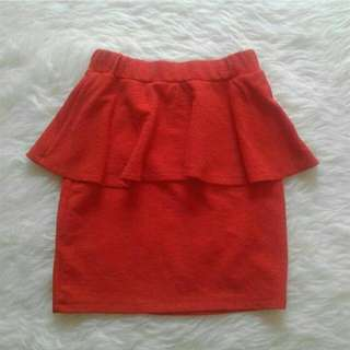 Orange Peplum Skirt By MDS