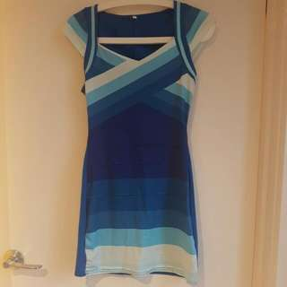 Striped Blue Cocktail/Party Dress XS - S SIZE