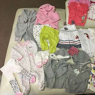 Pre-loved Carters baby girls clothes - Size 6 months