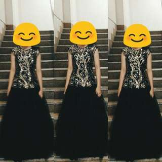 Black Prom Dress With Gold Details