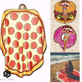 【免運】歐美爆款 印花圓形 沙灘巾 漢堡 披薩 沙灘墊 瑜伽墊 海邊度假 披肩 #446