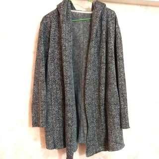 灰長版外套