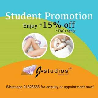 Beauty Treatment: 15% Discount Student Promotion By J Studios
