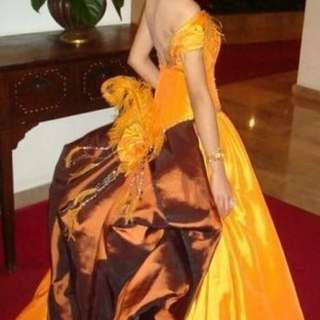 Gold Orange And Brown Gown For Rent