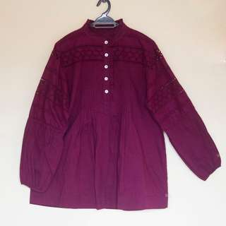 Embroidered Blouse / Blus Bordir / Top / Atasan Warna Plum / Ungu Gelap