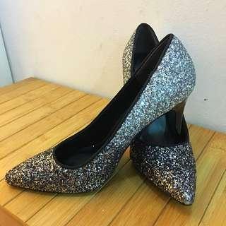 "Silver Glitter 4"" Heels FREE POSTAGE"