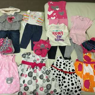 Pre-loved Carters baby girls clothes - Size 9 months