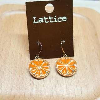 日本香橙垂吊耳環全新