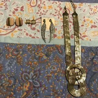Various Earrings + Necklace
