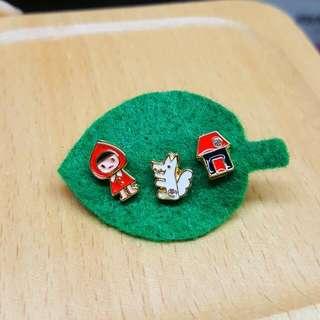 日本小紅帽精緻可愛耳環全新