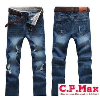 C.P.Max 破洞 刀割 經典 復古修身小直筒牛仔褲 型男必備 純棉 材質精細 透氣舒適 百搭 物超所值 台灣嚴格品管