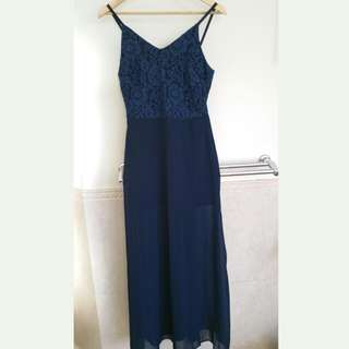 Navy Maxi Dress with Side Slit