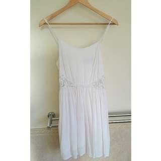 White Floral Waist Dress