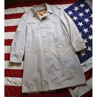 vintage 70s 古著復古早期翻領隱藏釦長版風衣外套