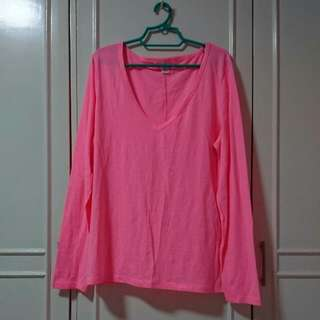Plus Size Neon Pink V-neck Longsleeves