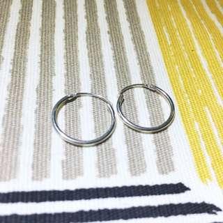 ::二手:: 925純銀歐美細圈耳環15mm