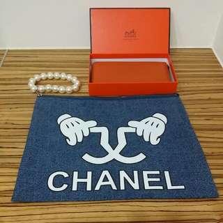 小香珍珠款牛仔手拿包
