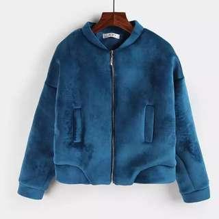 孔雀藍毛絨短版外套