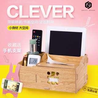 【免運】木製多功能紙巾盒 餐巾 面紙 客廳 餐桌 面紙盒 遙控器收納盒 創意 #447