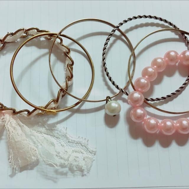 [手飾]粉色系-珍珠蕾絲多組合式手鍊(共6件)