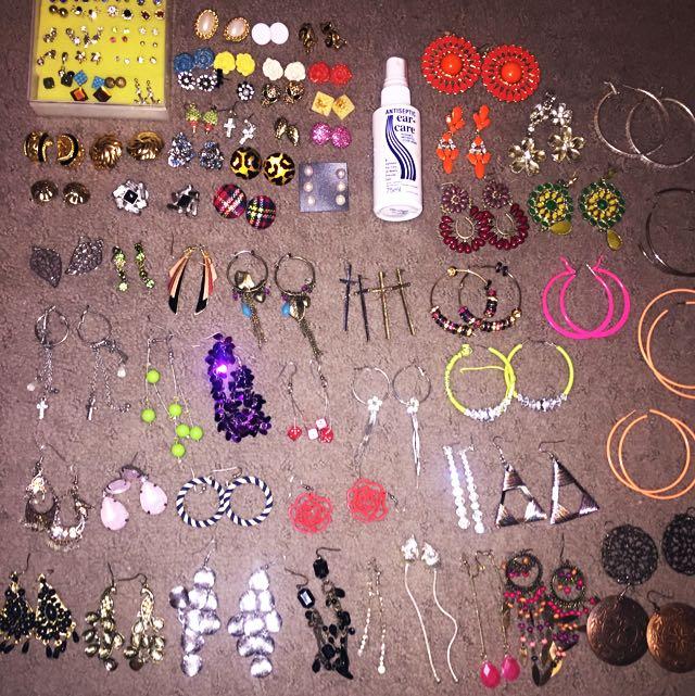91 Pairs Earrings - Studs, Hoops, Clip Ons, Dangly