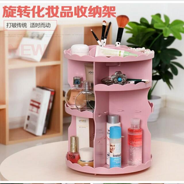 韓國桌面旋轉收納架化妝品收納盒家用置物架創意梳妝台收納架-白/粉/黑