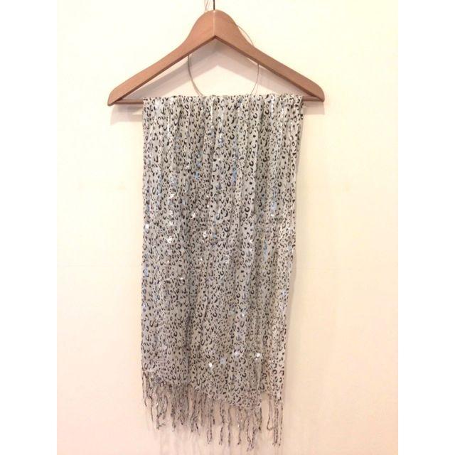 白色豹紋圍巾 絲巾