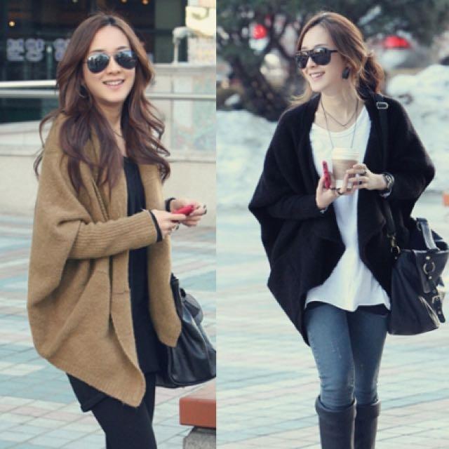 韓版 飛鼠 斗篷 修身超顯瘦毛衣外套