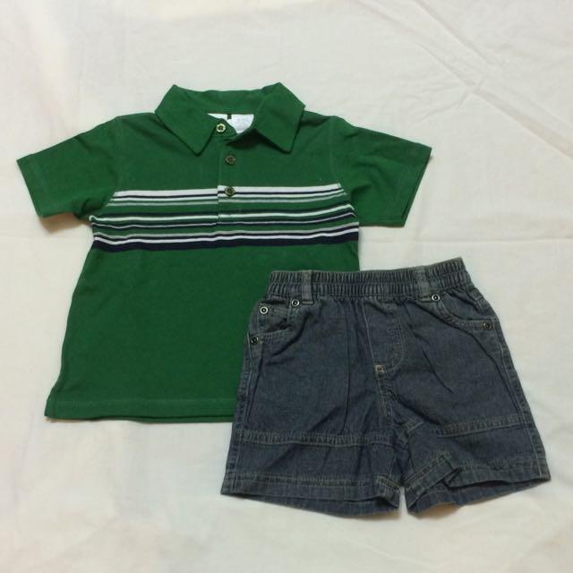 美國品牌 Babies R Us 兩件式短袖polo上衣+牛仔短褲套裝(18個月)(全新)
