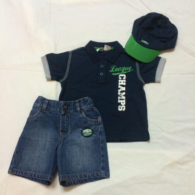 美國品牌 Babies R Us 三件式短袖polo衫短袖上衣+牛仔短褲+棒球帽子(18個月)(全新)