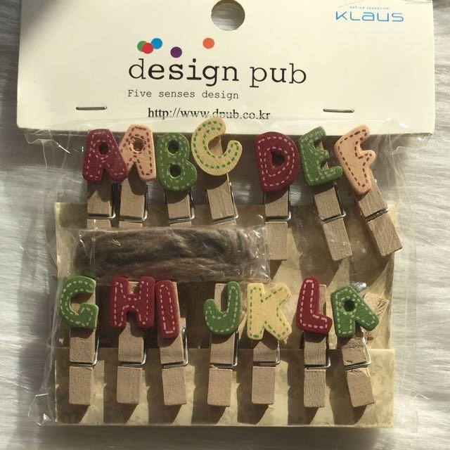 Alphabet Wooden Clips