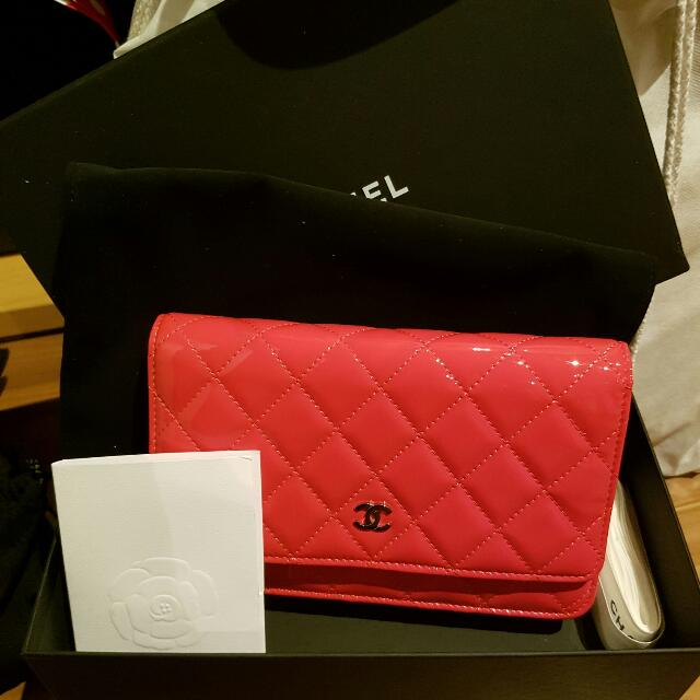 Authentic Chanel WOC Pink Red Patent Leather Exc Condition