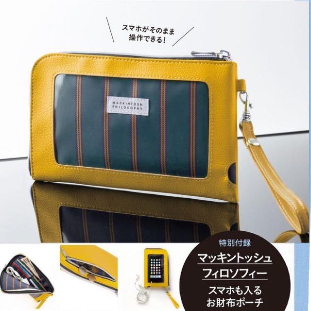 ◆Belle Shop◆日本雜誌附錄 Spring 10月號 Mackintosh Philosophy 黃色手機收納包 手拿包 零錢包