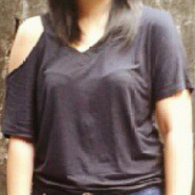 Black Cut-out Shirt