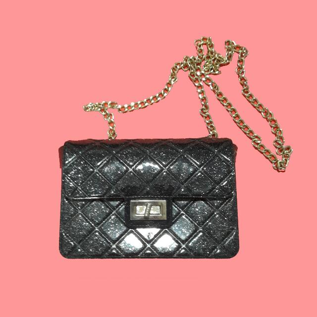 [REPRICE] Bling Black Sling Jelly Bag