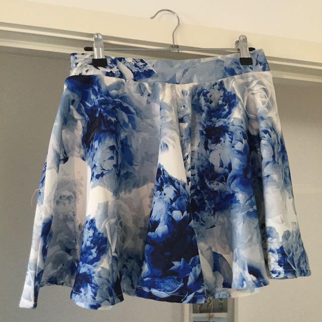 Blue Floral Skirt - Size 8