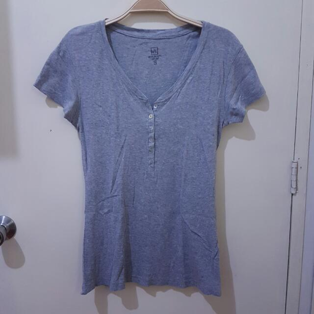 Buttoned Grey Tee