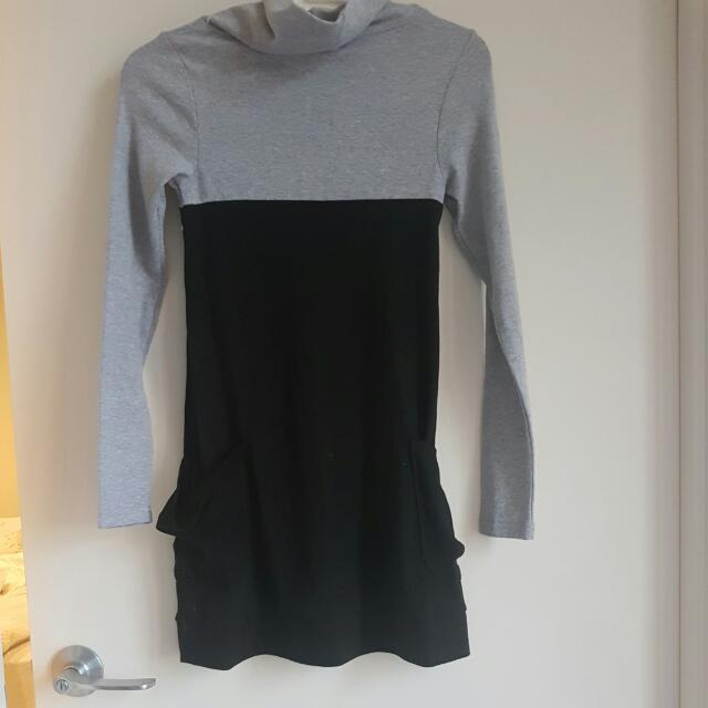 Casual Turtle Neck Long Sleeve One Piece XS- S SIZE