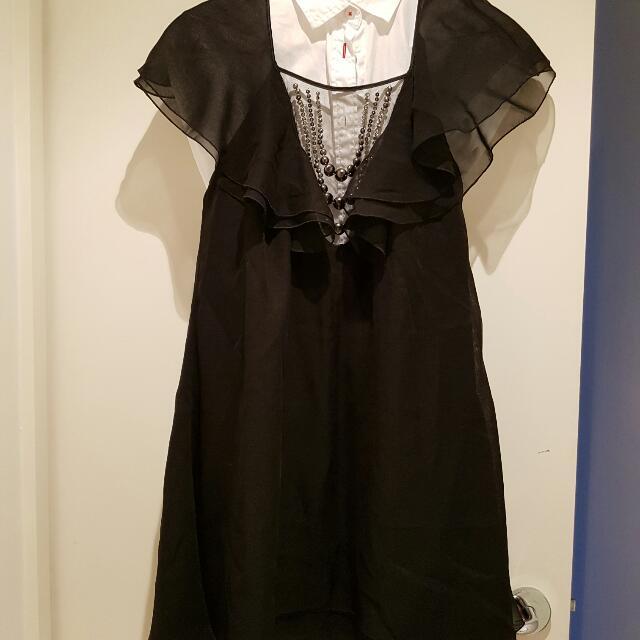 Catherine Malandrino Silk Black Dress Size 8