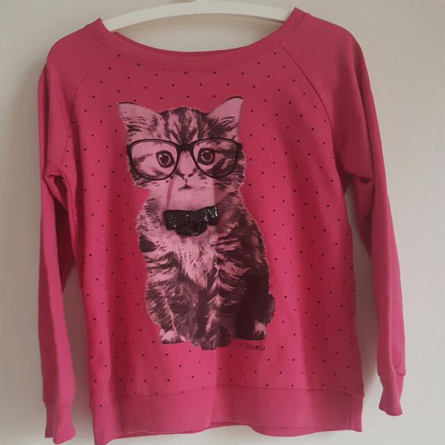 Cute Pink Cat Long Sleeve Top Size M