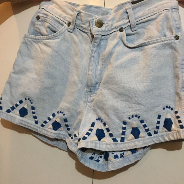 Denim Aztec Shorts