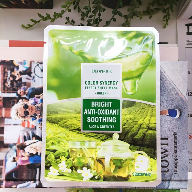 💜 Deoproce Bright Anti-oxidant Soothing Aloe & Green Tea Face Sheet Mask